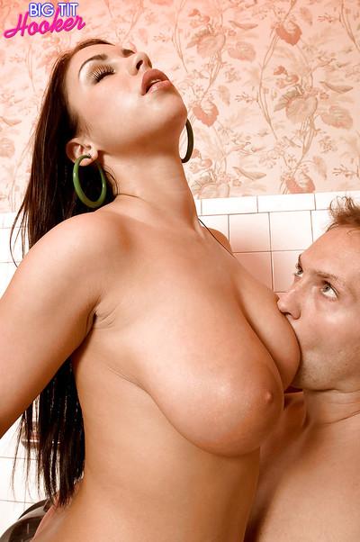 Brunette hair chick Whitney Stevens flaunts large all regular tits in bathroom