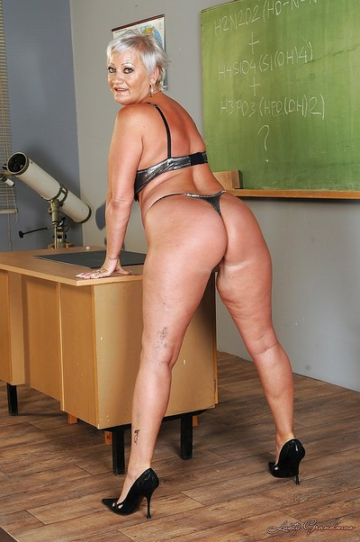 Short haired fatty granny erotic dance off her dress and lingerie