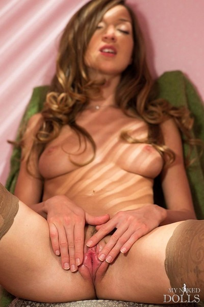 Horny stocking girl shows wet pussy