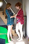 Hirsute amateurs Renae D and Yara getting dressed right after dyke fucking