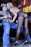 Blonde bimbo of a secretary gets her yummy booty licked and dicked at till