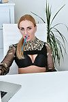 Leggy fairy Afina Kisser shows her secretary style