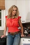 Graceful MILF with little waste Brandi Love erotic dancing in the kitchen