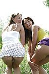 Seductive teen beauties sshowcasing their petite curves for photos outdoor