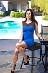 Raunchy brunette hair MILF undressing and exposing her pleasant crooks outdoor