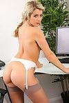 Stocking blonde strips in the office