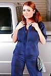 Chubby redhead in uniform Sophie Dee stripped off naked to play with pussy