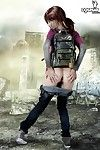 Cosplay teen removes clothes