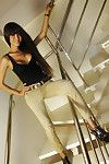 Beautiful Asian shemale Natalie stroking in high heels