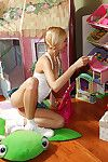 Slim amateur blond with pigtails stripping and masturbating her pussy