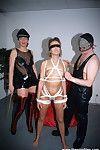 Kinky amateurs thong up a subbie before a kink all together