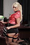Remarkable golden-haired babe in neck collar with chain leash Alexis Ford stripping