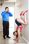 Agile teenager Abella Danger poses fully clothed upside down
