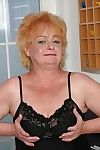 Fatty granny on high heels spreading her ass to show her unyielding holes
