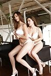 Hairy pussy cuties Holly and Dani are giving a kiss and humping clammy