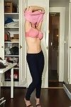 Fucking hot babe on high heels exposing her amazing huge tits