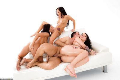 Oiled pornstars Adriana Chechik, Karmen Karma and Megan Rain rendering anal intercourse