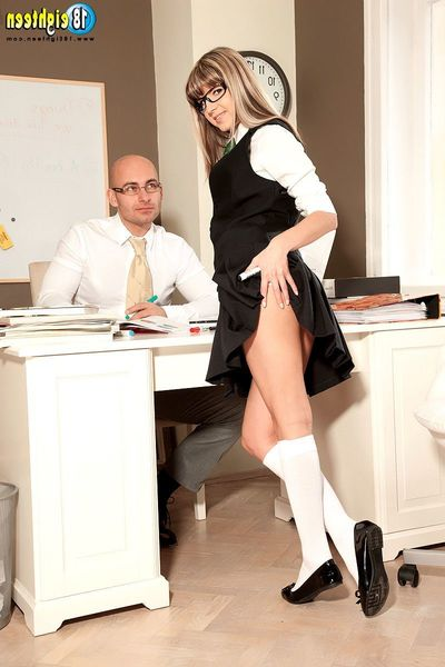 Schoolgirl Gina Gerson anal coition view with educator