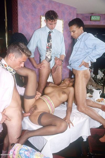 Vintage Japanese juvenile gangbanged in asshole in group buttfucking actio