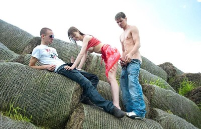 Beata undine slammed by two fuck excited fellows outdoors