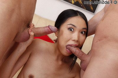 Exotic beauty lets dual dudes slam her fixed holes