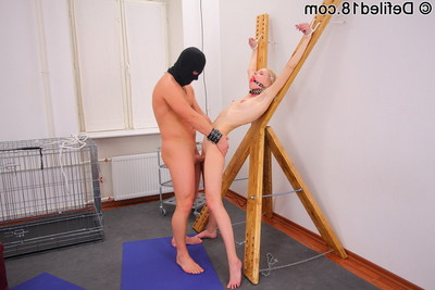 Blonde is gagged and cuffed while getting fucked