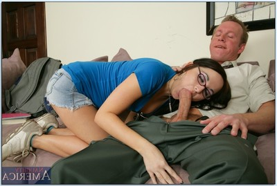 Nerdy girl McKenzie Banks as mother gave birth bare for heavy anal hammering