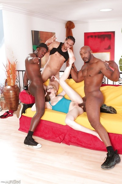 3 males with immense brown poles are cumming on the face of an gal