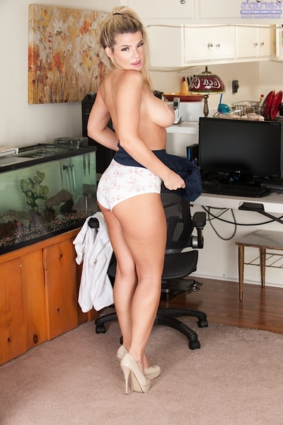 Golden-haired secretary Adriana Sephora bares her huge first timer bazookas at work