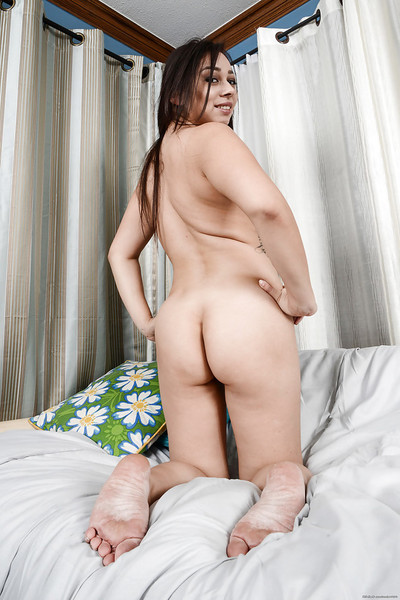 Latin chick Stephanie Saint is undressing and touching her vagina