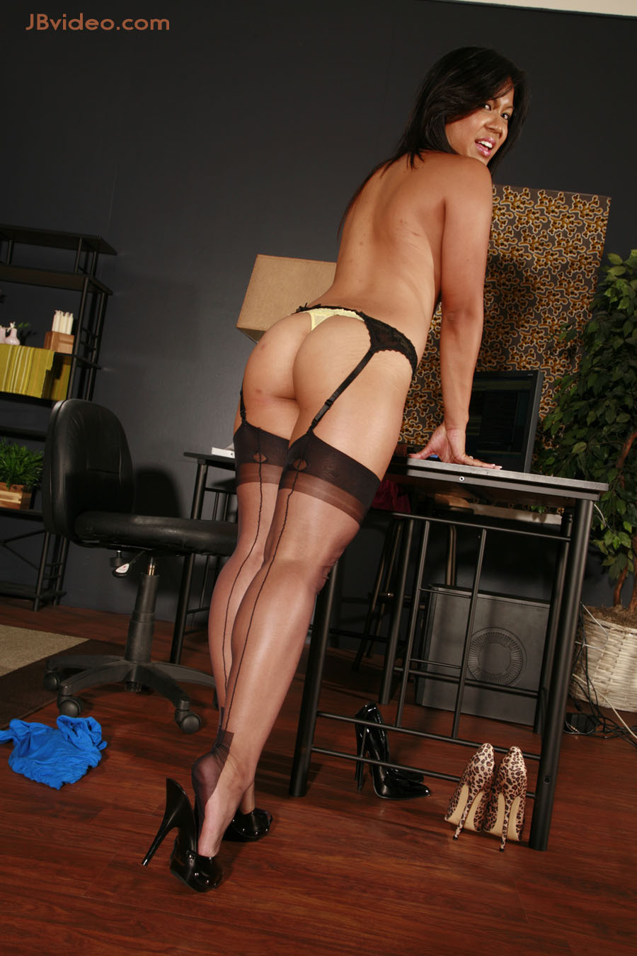 Tasha lyn wears nylons in her office