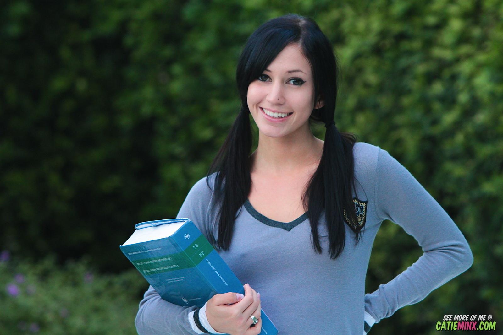Schoolgirl catie minx in nylon  flashing outdoors