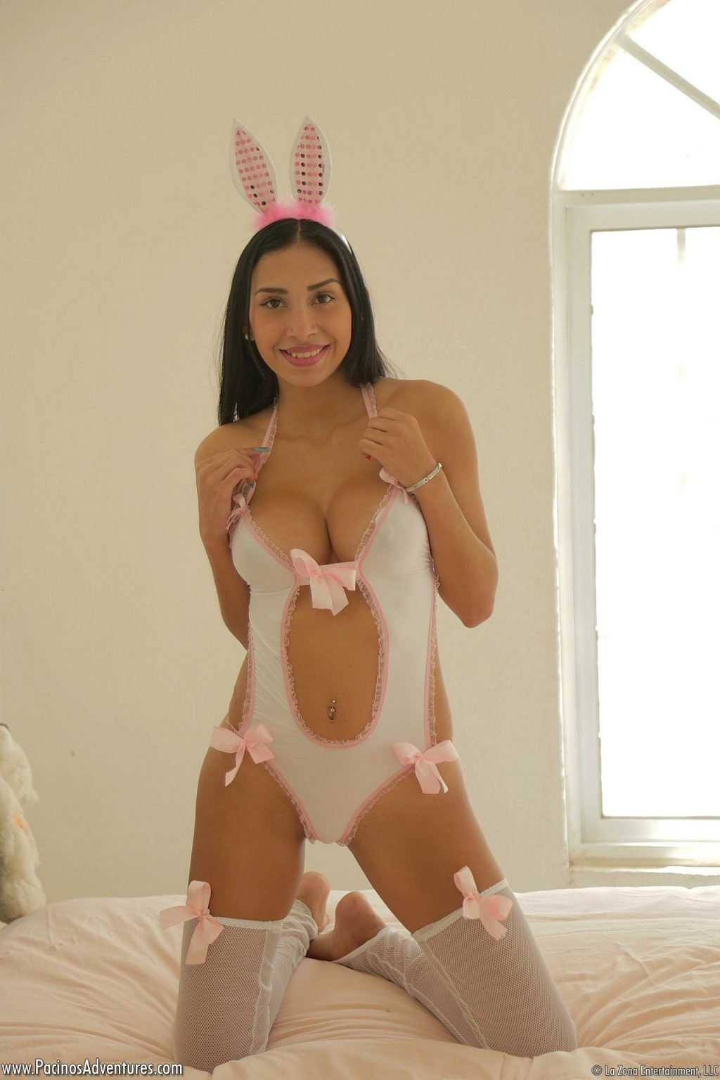 Stunning latin babe franchesca strips off her appealing bunny outfit