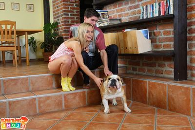 Fellatio and anal copulation view with infant Sabrina Blonde