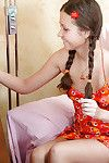 Naughty amateur in pigtails Liza B stuffs shit in her fixed wet crack & pierce gate