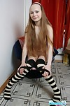 Beautiful nineteen year old youthful in knee highs