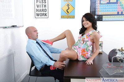 Coed hottie Kira Adams takes hardcore shaved pussy fucking in office