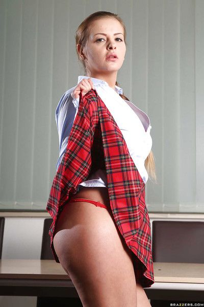 Awesome schoolgirl Candy Alexa has great uniform for a great scene