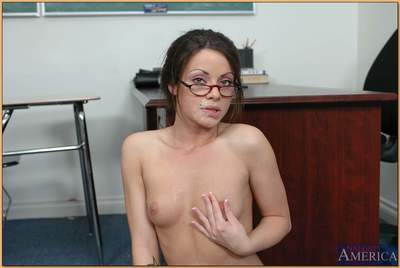 Sexy coed in glasses Isabella Dior shafted by her professor in class