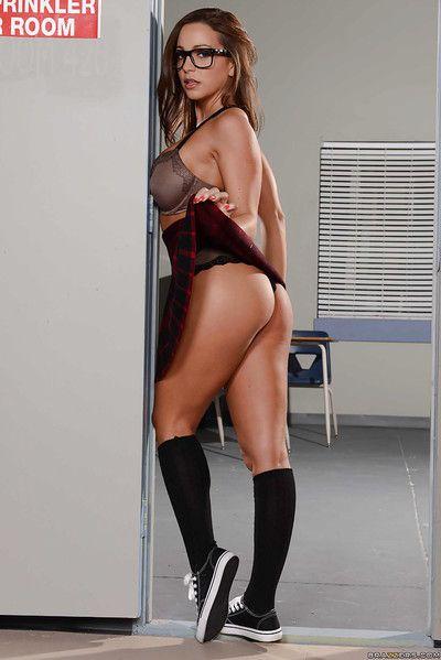 Schoolgirl Abigail Mac spreading legs back knee toffee-nosed socks and glasses