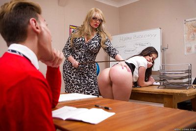 Be in charge overcast chick Nekane having bare ass caned by doyenne blonde dyke