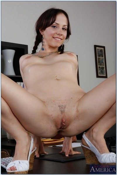 Cute coed brunette Lindy Lane flaunting scant with low-spirited pigtails