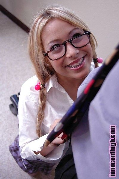 Kirmess asian about glasses Kat gives a sloppu and deep blowjob