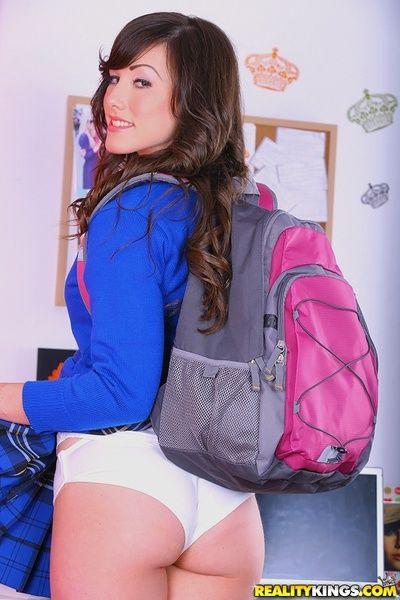 Nughty teen girl Jennifer White strips retire from school uniform and undies