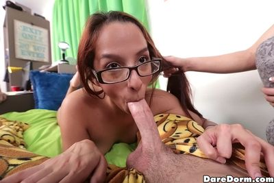 Cute coed Nicki sucks the big dick hungily and gets a creampie