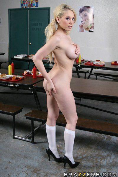 Schoolgirl Kagney Linn Karter shows her duff upskirt and strips naked