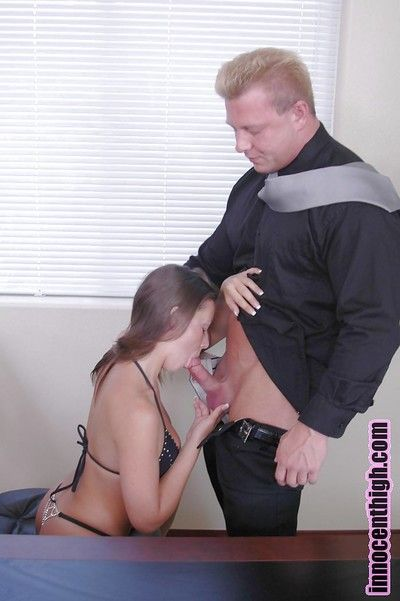 Nasty brunette Penny gives a stunning blowjob to turn this way chubby cock