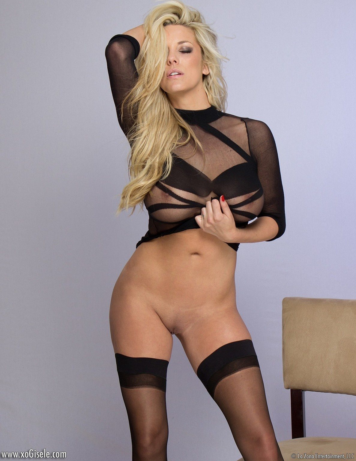 Appealing fairy-haired bombshell xo gisele makes known all in sheer