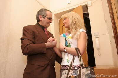 Blond college doll Lorraine is tricked fall in love with hardcore fucking action with old professor