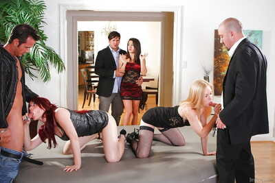 Slutty courtesans with admirable pointer sisters on knees for from back door fuck in untamed groupsex